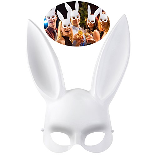 OULII Maskerade Maske Kaninchen Maske Bunny Maske für Geburtstag Party Ostern Halloween Kostüm Zubehör Gesicht Augenmaske Party Favors