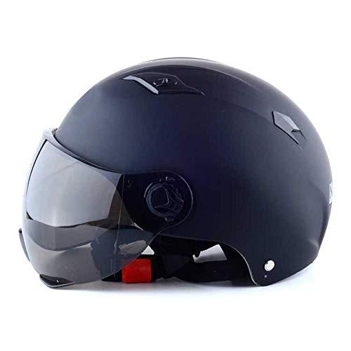 heirao4072 Demi-Casque De Moto avec Visière De Lunettes, Casque De Moto De Vélo Adulte, Casque De Vélo De Montagne Et De Route Réglable pour Hommes/Femmes Adultes