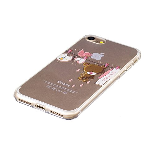 iPhone 7 Coque en Slicone, iPhone 7 Étui enTransparent Housse en Souple,Etsue iPhone 7 Mode Coque Romantique Élégant Beau Mandala Fleur Pissenlit Cool Chine Papillon Motif Ultra Mince Thin Flexible Do Ours