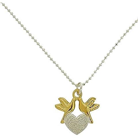 Toc argento Sterling goldtone Love Birds Frosted collana con ciondolo a forma di cuore 17