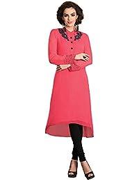 Jaune Women's Georgette Anarkali Kurti & Leggings (Pink)