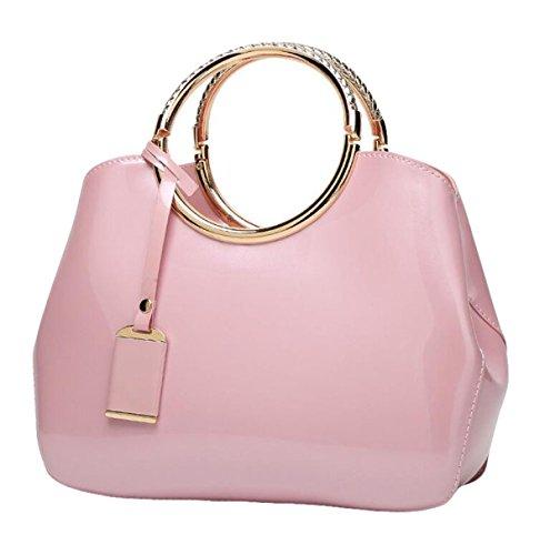 Art Und Weise Helle Lederne Handtaschenschulterbeutelnieten Einfaches Wildes Pink