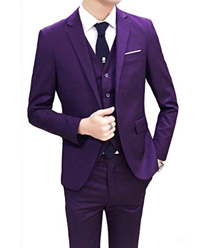Vestito classico da uomo 3 pezzi, giacca, pantalone e gilet, per matrimonio o feste Purple M