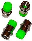 Aerzetix - 4 X Ventilkappen Elektro Grün Farbe Metall / Gummi für Auto Moto Roller Mofa Fahrrad-Auto-LKW