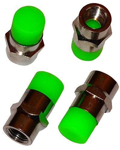 elektro mofas Aerzetix - 4 X Ventilkappen Elektro Grün Farbe Metall / Gummi für Auto Moto Roller Mofa Fahrrad-Auto-LKW
