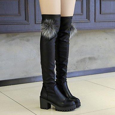 RTRY Scarpe Donna Pu Autunno Inverno Comfort Stivali Chunky Tallone Sopra Il Ginocchio Stivali Con Per Casual Nero Black Us5.5 / Eu36 / Uk3.5 / Cn35 US7.5 / EU38 / UK5.5 / CN38