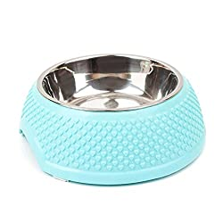 blue : TOOGOO(R) Pet Dog Cat Puppy Home Travel Portable Feeding Feeder Food Bowl Water Dish Gift Color:Blue