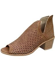 Zapatos Mujer Verano Tacon Bajo Talon Grueso Peep Toe Hueco Tobillo Retro Romana Botas para Mujer
