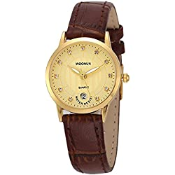 Fashion Leather Strap Rhinestone Calendar Quartz Watch For Women, Gold