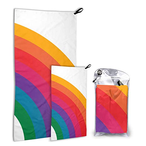 FunnyStar Quick Dry Microfiber Camping Towel Set for Hike, Travel, Camp, Backpacking - Large 140cm x 70cm - Small 80cm x 40cm - Soft, Super Absorbent, Free Carry Bag,Retro Rainbow Bright Right Side Bright Side Bag