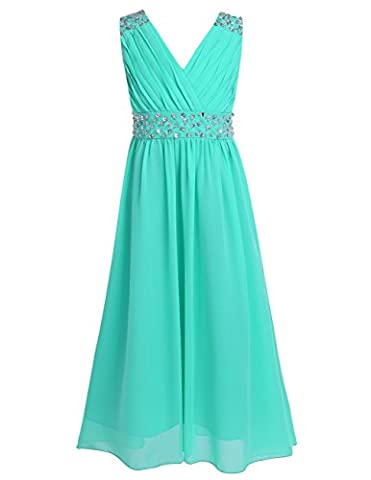 YiZYiF Flower Girls Junior V-Neck Beaded Princess Dance Prom Wedding Gown Chiffon Party Dress Turquoise 11-12