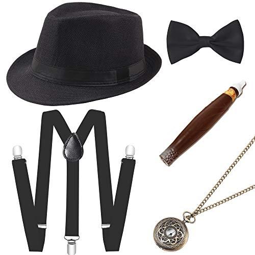 Coucoland 1920s Herren Accessoires Mafia Gatsby Kostüm Set inklusive Panama Gangster Hut Verstellbar Elastisch Hosenträger Herren Halsschleife Fliege Taschenuhr und Plastik Zigarre (Schwarz)