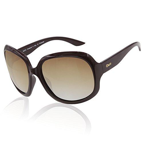 Duco Damen Modisch Polarisierte Sonnenbrille Vintage Übergroße Sonnenbrillen 3113 (Weinrot)