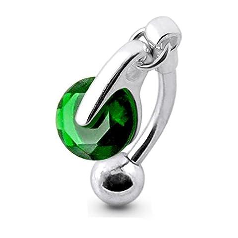 Dark Green Gemstone Trendy Round Reverse Bar Design 925 Sterling Silver Belly Button Rings