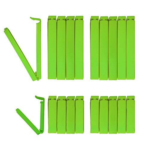 Tütenclips (20 Stück) Happiness Edition BUNEO | 20 Beutelklammern: 10 x grün (11 cm) + 10 x grün (6 cm)