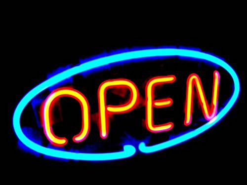 "OPEN Real Glass Neon Light Sign Home Beer Bar Pub Recreation Room Game Room Windows Garage Wall Sign (17""×14"" Large)"