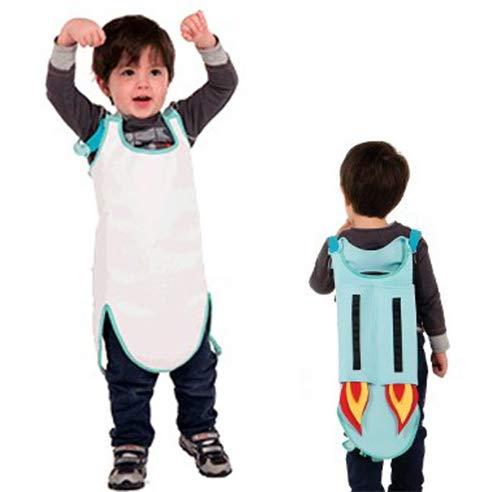 Caperons - Bunte Kinderschürze von allocacoc - abwischbar und wasserabweisend - zuverlässiger Schutz vor Schmutz für Kinder Kleidung (Jetpack)