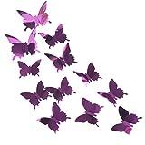 Broadroot 12Stk. PET Spiegel Schmetterlinge 3D Wandaufkleber Selbstklebende Hintergrund Requisiten Kühlschrank Wohnzimmer Party Dekoration (Lila)
