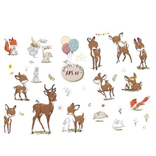 TOPofly Creativa Patrón Ciervos de Sika Pared del Vinilo Etiqueta de la Pared de Papel Creativa extraíble Arte de la Pared para el Dormitorio, Sala de Estar, habitación de los niños