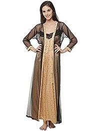 Clovia Women Star Printed Satin Nighty & Mesh Robe