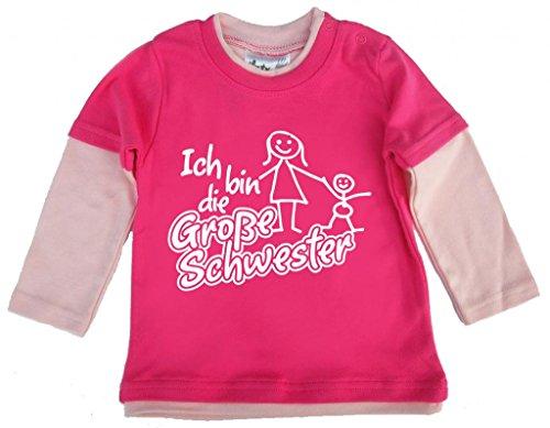 Dirty Fingers, Ich bin die Große Schwester, und Kleinkind, Skater Top, 2/3 J, Hot Pink (Schwester-kleinkind-shirt Große)