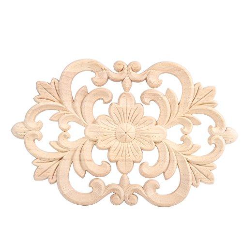 Eine Packung mit 2 Holz Applique Ornament Schnitzerei für Haustür Schrank Fenster Möbel - Holz-applique Handwerk