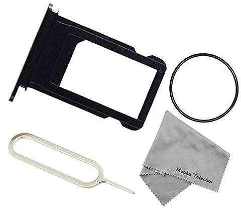 MMOBIEL SIM Karte Schlitten Tray Holder Halterung Nano Slot Ersatzteil für iPhone 7 4.7 inch (Schwarz) incl. Waterproof Rubber Ring + Sim Open Eject Pin und Mikrofaser (Sim For Iphone)