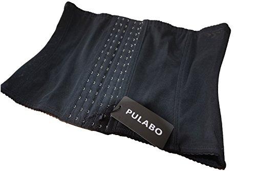 PULABO Donna Traspirante Bustino Corsetto Modellante Con Formazione Corsetto Waist Training Cincher Shapewear Corpo Shaper nero-6 ganci