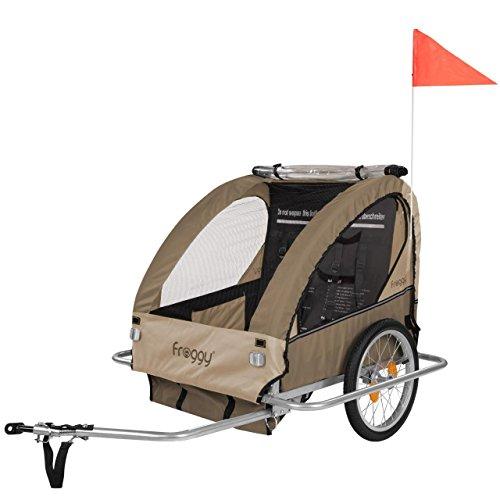 Froggy Kinderfahrradanhänger Fahrradanhänger für 1 oder 2 Kinder mit Universal-Kupplung 5-Punkt Sicherheitsgurte Ablagefach Stahl klappb...