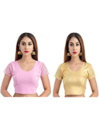 Fressia Fabrics Women's Cotton Lycra Stretchable Readymade blouse pack of 2