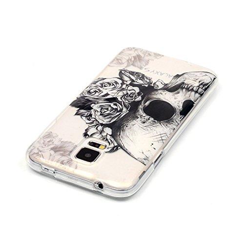 Qiaogle Telefon Case - Weiche TPU Case Silikon Schutzhülle Cover für Apple iPhone 5 / 5G / 5S / 5SE (4.0 Zoll) - XS20 / high-heeled shoes XS14 / Schwarz Schädel Blume