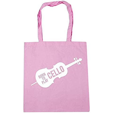 HippoWarehouse Born to Play Cello Borsa grande Spesa Palestra Borsa Da Spiaggia 42cm x38cm, 10 litri