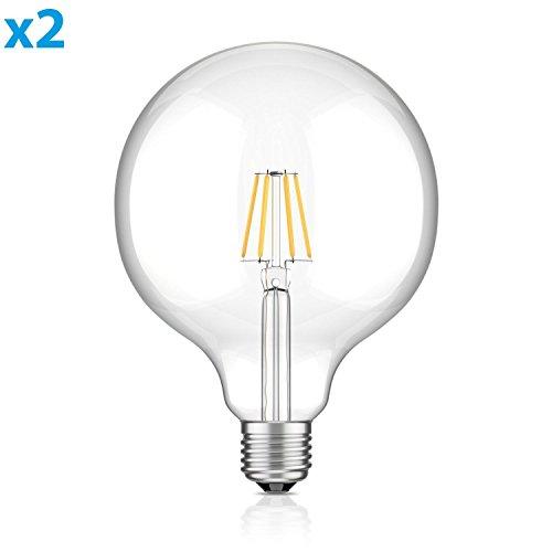 ledscom.de E27 LED Globe Leuchtmittel Glühfaden G125 (12,5cm Kopfdurchmesser) 8W =65W warmweiß (2700K) 850lm A++ Auch Wetterfest, 2 Stk. (2 Ww-design)