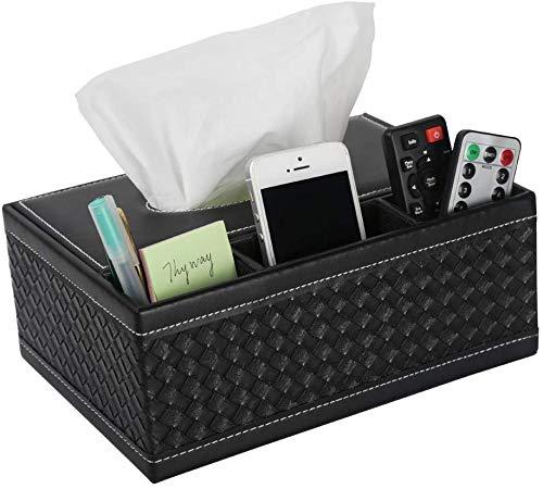 Robasiom Boîte de rangement multifonction en cuir PU pour stylo à crayons, télécommande, mouchoirs, pour la maison et au bureau