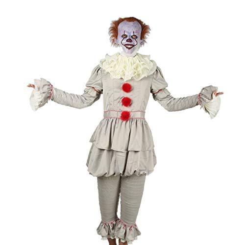 Stephen King Kostüm Figur - Pandacos IT/ES 2 Pennywise Kostüm Clown Cosplay Costume für Erwachsene Unisex für Halloween, Kaneval und Fasching