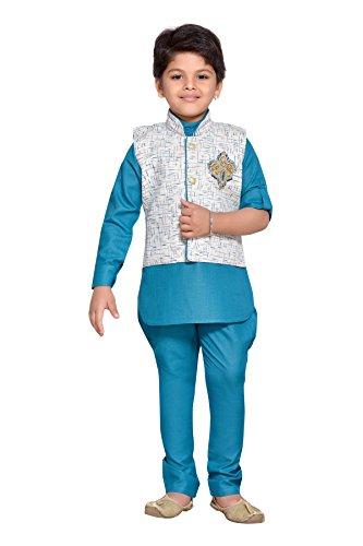AJ Dezines Kids Kurta Pyjama Waistcoat Set for Boys (602_GREEN_2)