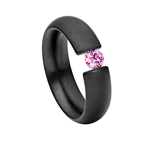 Heideman Ring Damen Intensio schwarz aus Edelstahl schwarz matt Damenring für Frauen mit Swarovski Stein Zirkonia