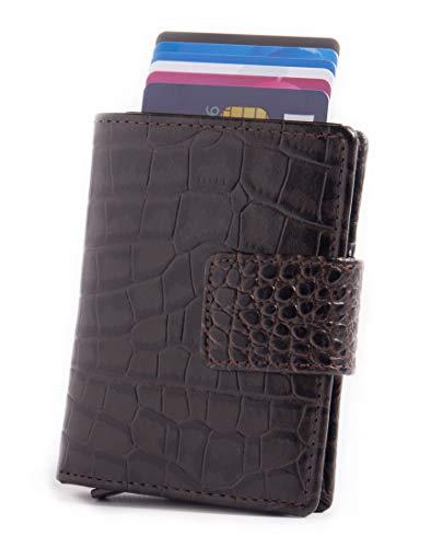 Figuretta Figuretta Leder Kreditkartenetui mit Banknoten- und Münzfach - Geldbörse Slim Wallet Portmonee - RFID Schutz - Croco Braun