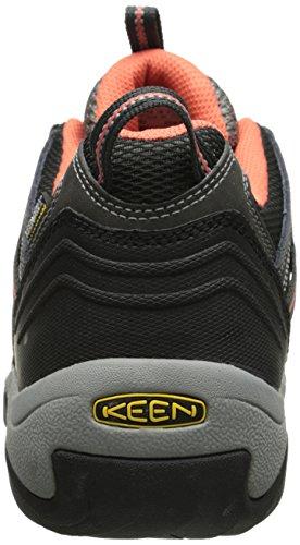 KEEN Women's Koven WP Hiking Shoe, Cascade/Aluminum, 5 M US Raven/Hot Coral