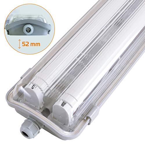 proventa® LED-Feuchtraumleuchte 120 cm | mit 2 LED-Röhren | IP65 | 4.000 K | 36 W | 3.600 Lumen | Kunststoff grau | Energieklasse A+