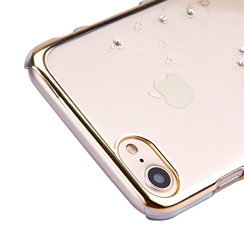 iPhone 7 Custodia Rigida,iPhone 7 Cover Trasparente con Disegno,Felfy iPhone 7 4.7 pollice Custodia Cover Case Bumper Caso Trasparente Luxury Belle Rose Gold Farfalla Brillantini Glitter Bling Strass  C10