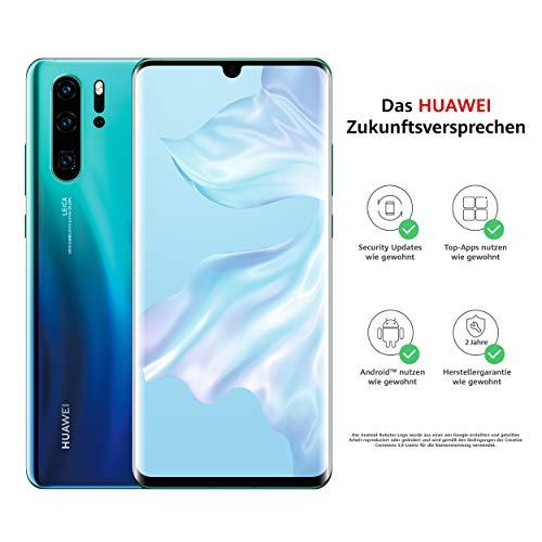 HUAWEI P30 Pro Dual-SIM Smartphone Bundle (6,47 Zoll, 128 GB ROM, 8 GB RAM, Android 9.0) Aurora + USB-Adapter [Exklusiv bei Amazon] - DE Version -