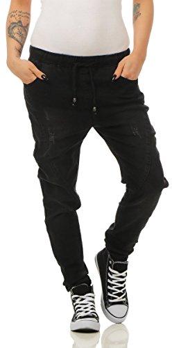 Fashion4Young 3913 Damen Jeans Hose Boyfriend Haremsjeans Gummibund Jogg-Pants Röhrenjeans Slim-Fit (schwarz, S-36)
