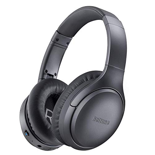 Active Noise Cancelling Headphones, Boltune[2019 Upgrade] Bluetooth 5.0 Over Ear Wireless Headphones with Mic Deep Bass, Comfortable Protein Earpads 30H Playtime for Travel Work TV PC Cellphone