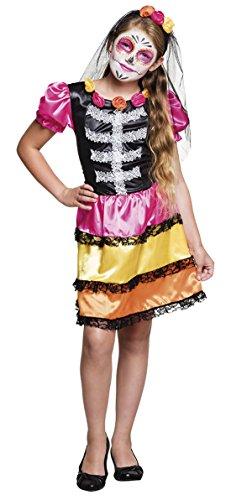 Faschingsfete Halloween Kinder Teenie Kostüm Kleid - Tag der Toten - La Catrina Mexikanisches Totenfest, 140-152, 10-12 Jahre, Mehrfarbig