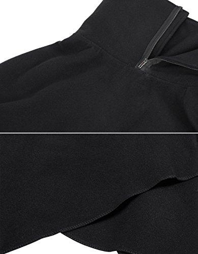 ZEARO Damen Mäntel Kapmäntel Wollmischung Kap Umlegekragen Rollkragen Umhang Winter/Herbst/Spring Jacken unregelmäßige Saum-Kapmantel-Outwear schwarz M/L/XL Schwarz