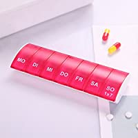 ROKOO 7Tage Weekly Pille Veranstalter Tablet Pille Aufbewahrungsbox Kunststoff Medizin Box Splitter Rot preisvergleich bei billige-tabletten.eu