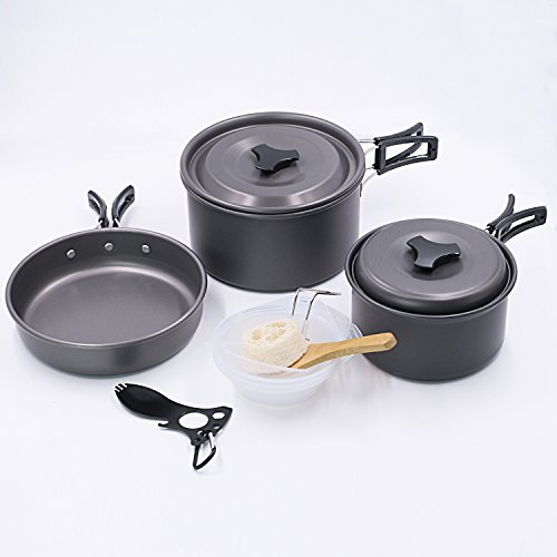 Startostar 13pcs Camping Cookware for 2-3 People, Backpacking Cooking Picnic Bowl Pot Pan Set with Spork and Mesh Bag (In Gift Box)