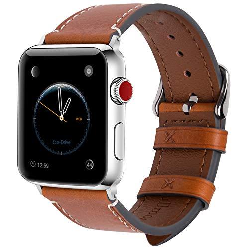 Fullmosa 8 Farben Für Apple Watch Armband 42mm,Wax Series iWatch Leder Band für Apple Watch Series 4 3 2 1,42mm(44mm),Hellbraun + Silber Schnalle Apple Farbe