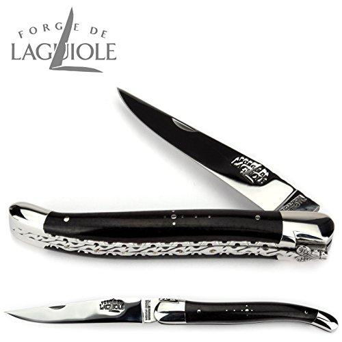 Forge de Laguiole Collection couteau 12 cm - manche en ébène - double platine - lame et mitres inox brillant